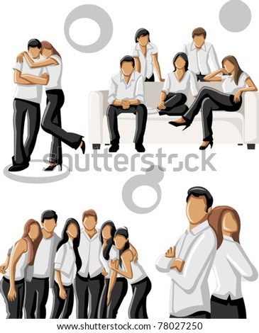 Group people wearing white clothes - stock vector