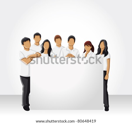 Group people wearing white clothes hold white board - stock vector