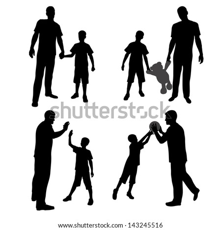 Group silhouettes of man and boy, family, dad and son - stock vector