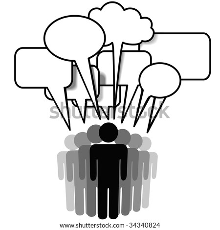Group Speak - social network media people talk together in communication speech bubbles. - stock vector
