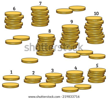 Group stacks of coins from 1 to 10 - stock vector