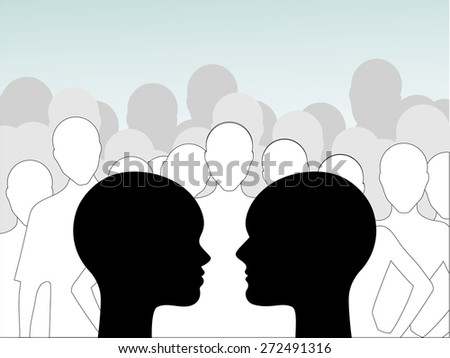 Group think  - male and female profiles with group behind  - stock vector