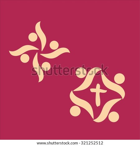 Group, together, symbol, abstract, shapes, people, membership, icon - stock vector