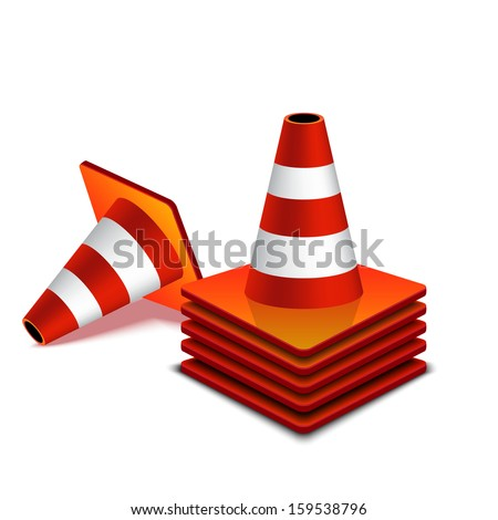 group traffic cone - stock vector