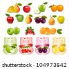 Group with different sorts of fruit and labels. Vector. - stock vector