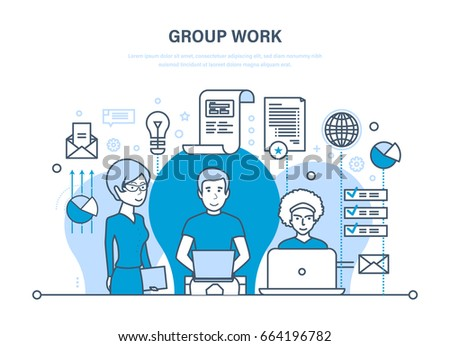 group work people office teamwork partnersのベクター画像素材