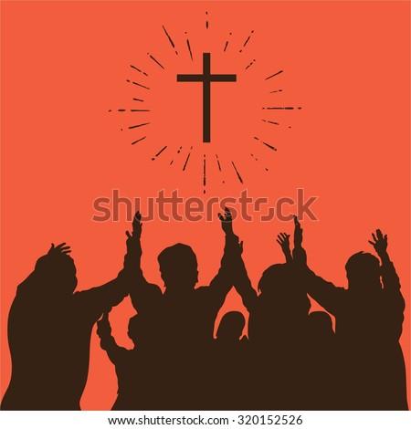 Group worship, raised hands, cross, worship, silhouettes, praise - stock vector