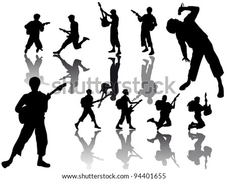 group young guitarist players - silhouette - stock vector