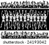 Groups of editable vector skeletons with each skeleton as a separate object - stock vector