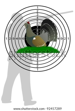 Grouse sitting in the grass on the background of the target and the hunter - stock vector