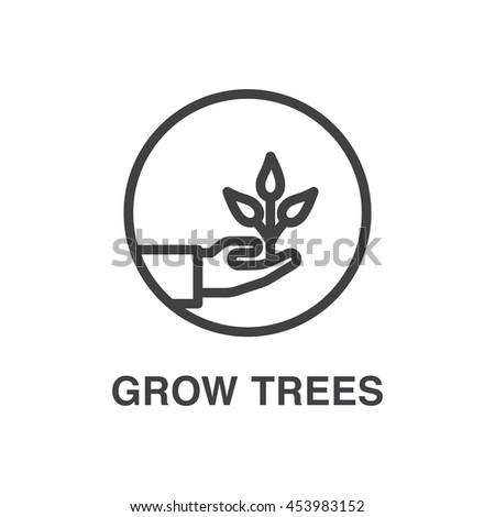 Grow trees vector line art icon. Ecology concept. - stock vector