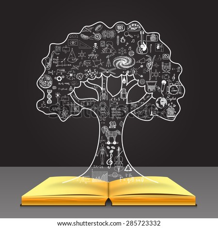 Grow your knowledge concept. Education doodles in the tree shape on open book. - stock vector