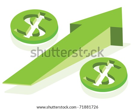 Growing arrow and money signs as Percent symbol.  Finance concept. Vector layered illustration. - stock vector
