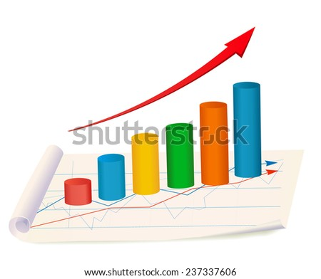 Growing diagram with red arrow on paper. Vector  - stock vector