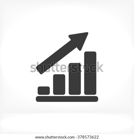 Growing graph Icon, growing graph icon flat, growing graph icon picture, growing graph icon vector, growing graph icon EPS10, growing graph icon graphic, growing graph icon object - stock vector
