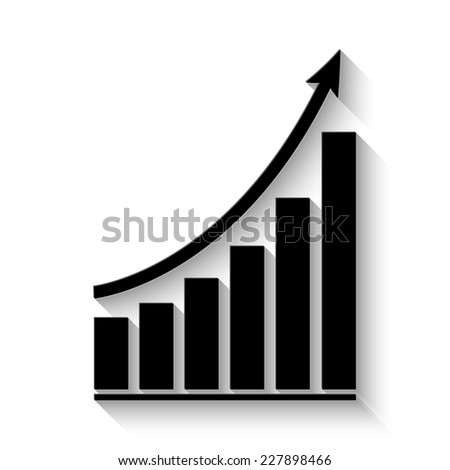 growing graph icon - vector illustration with shadow - stock vector