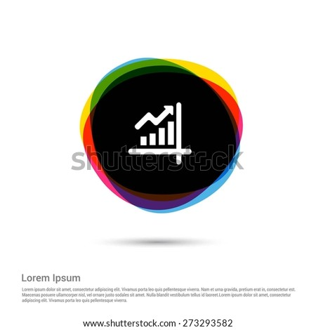 Growing graph icon, White pictogram icon creative circle Multicolor background. Vector illustration. Flat icon design style - stock vector
