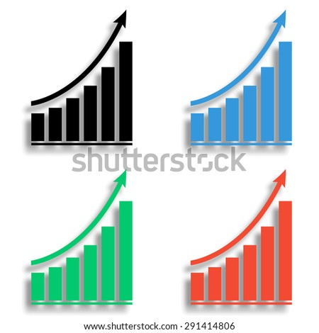 growing graph icon with shadow - colored vector set