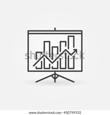 Growing graph presentation linear icon - vector presentation symbol or sign in thin line style