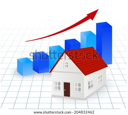 growing graph with house - real estate market concept