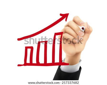 growing graphic drawn by hand on a transparent board - stock vector