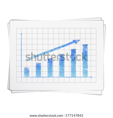 Growing hand drawn bar graph with arrow, vector eps10 illustration - stock vector
