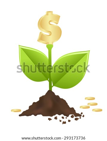 Growing investment coin money and green leaf. vector , Illustration - stock vector