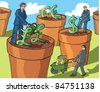 Growing money pound dollar yen - stock vector