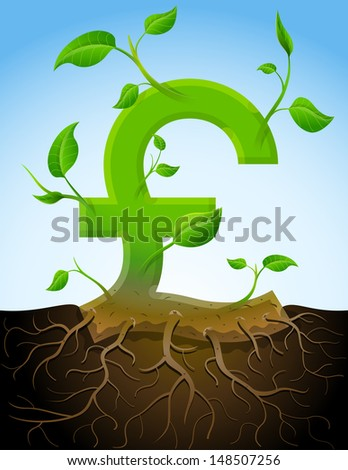 Growing pound sterling symbol like plant with leaves and roots. Stylized plant in shape of pound sign in ground. Qualitative vector picture for banking, financial industry, economy, accounting, etc - stock vector