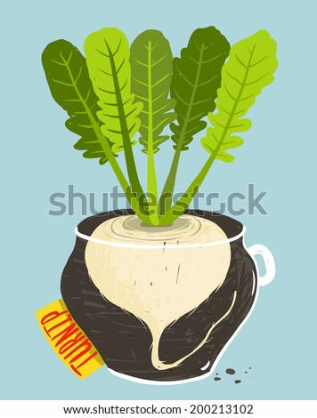 Growing Russian Turnip with Green Leaves in Pot. Root vegetable container gardening illustration. Layered vector EPS8 - stock vector