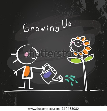 Growing up conceptual vector illustration. Kid watering a flower, chalk on blackboard doodle style hand drawn drawing.  - stock vector