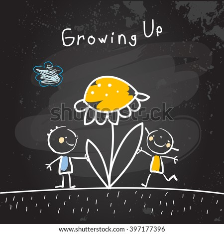 Growing up conceptual vector illustration. Kids with flower, chalk on blackboard doodle style hand drawn drawing.  - stock vector