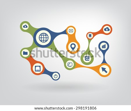 Growth abstract background with integrated metaballs, icon for digital, internet, network, connect, communicate, technology, global concepts. Vector interactive illustration - stock vector