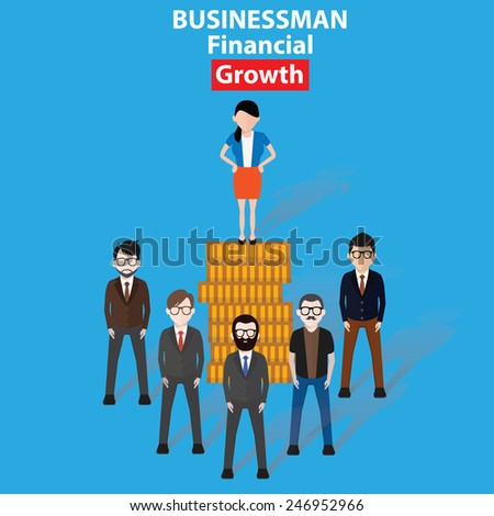 Growth business concept on blue background, clean vector - stock vector