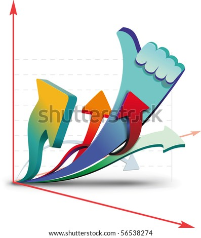 Growth charts, showing that all is well - stock vector