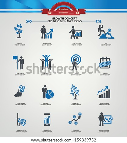 Growth concept icons,Blue version,vector - stock vector