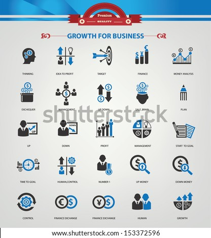 Growth, Finance and analysis icons,Blue version,vector - stock vector