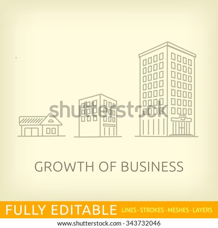 Growth of business. Buildings of company small, middle and big. Sketch line flat design of commerce architecture. Modern vector illustration concept. Fully editable outlines, saved brushes and layers. - stock vector