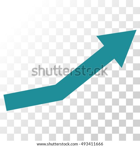 Growth Trend vector icon. Image style is a flat soft blue pictogram symbol.