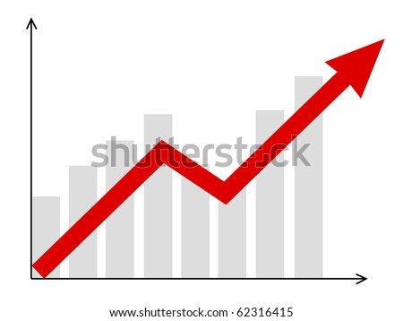 growth vector diagram with red arrow going up - stock vector