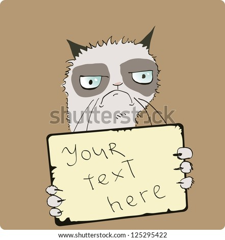 grumpy cat cartoon - stock vector