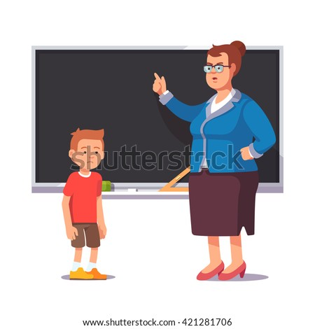 Grumpy school teacher reprimands guilty sad and bad pupil boy not learned his homework lesson. Flat style color modern vector illustration. - stock vector