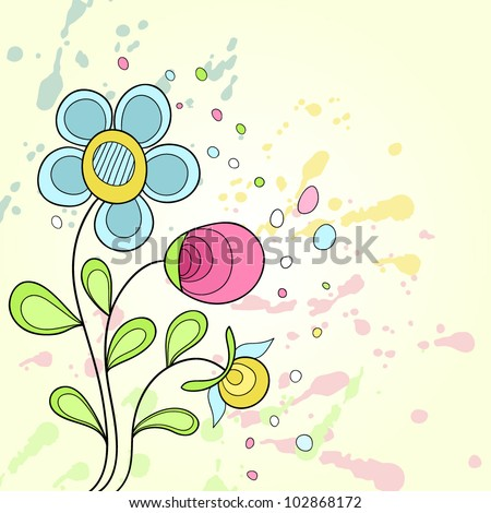 Grunge abstract and colorful flower background. Vector illustration.