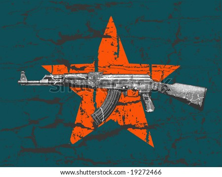 grunge AK 47 and star on wall