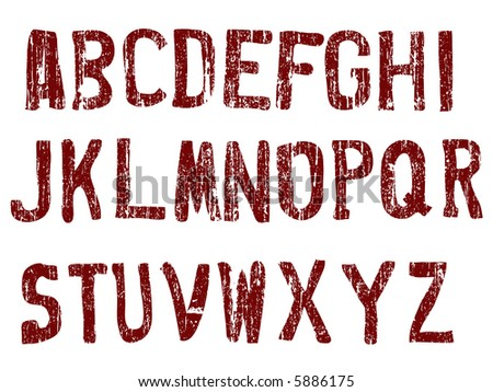 Grunge Alphabet -  26 Individual Vector Letters (Grunge is transparent so the letters can be overlaid on other graphics ) - stock vector