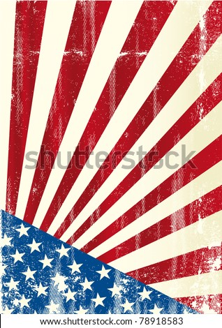 Grunge american flag. A grunge american poster - stock vector