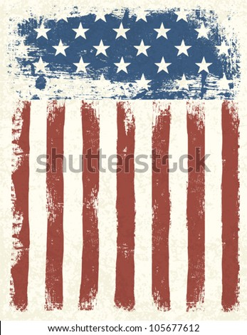 Grunge American flag background. Vector illustration, EPS 10. - stock vector