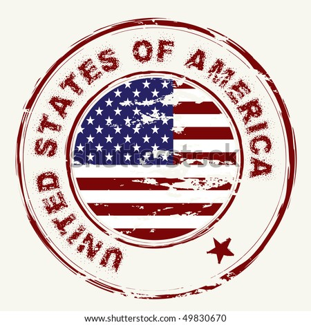 grunge American flag with rubber stamp and worn effect - stock vector