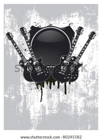 grunge and glossy shield with four guitar - stock vector