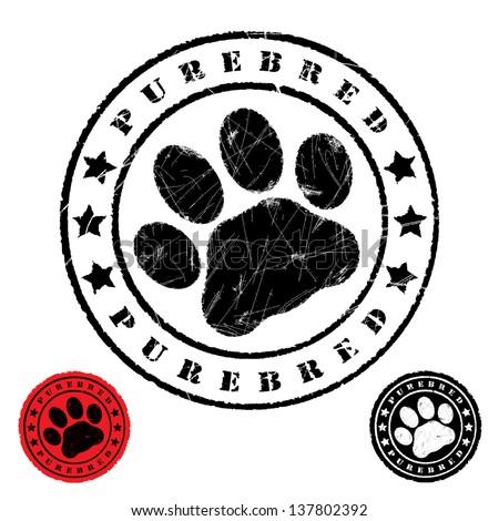 Grunge animal footprint - vector illustration - stock vector
